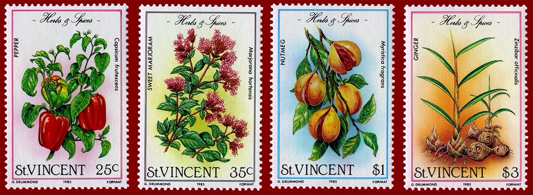1985 St. Vincent Herbs and Spice Stamp series nutmeg