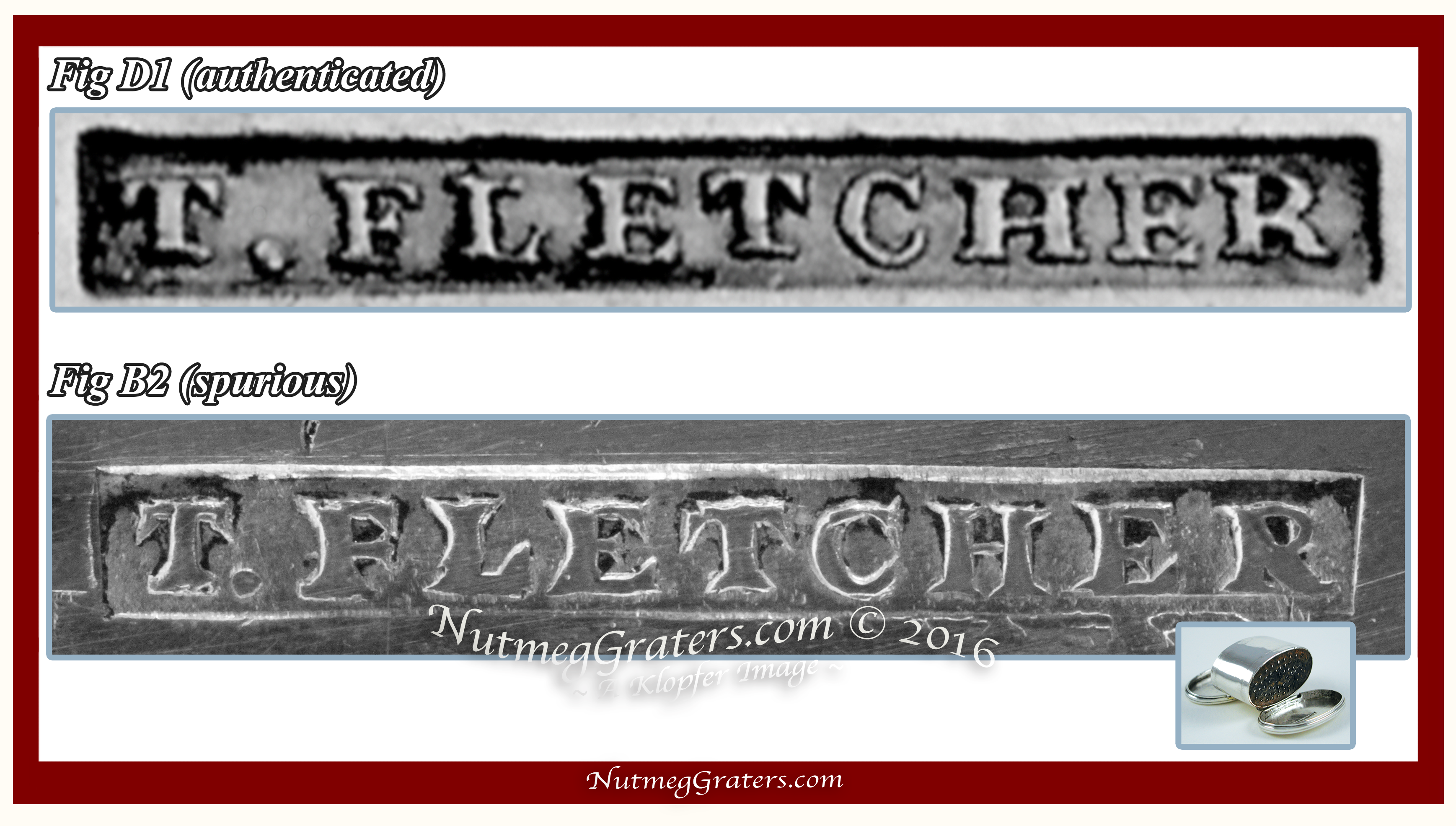 Comparison of Authenticated VS Spurious Fletcher maker's mark