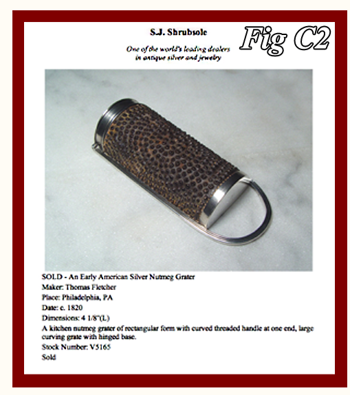 Silver Kitchen Nutmeg Grater marked Fletcher sold by Shrubsole NYC