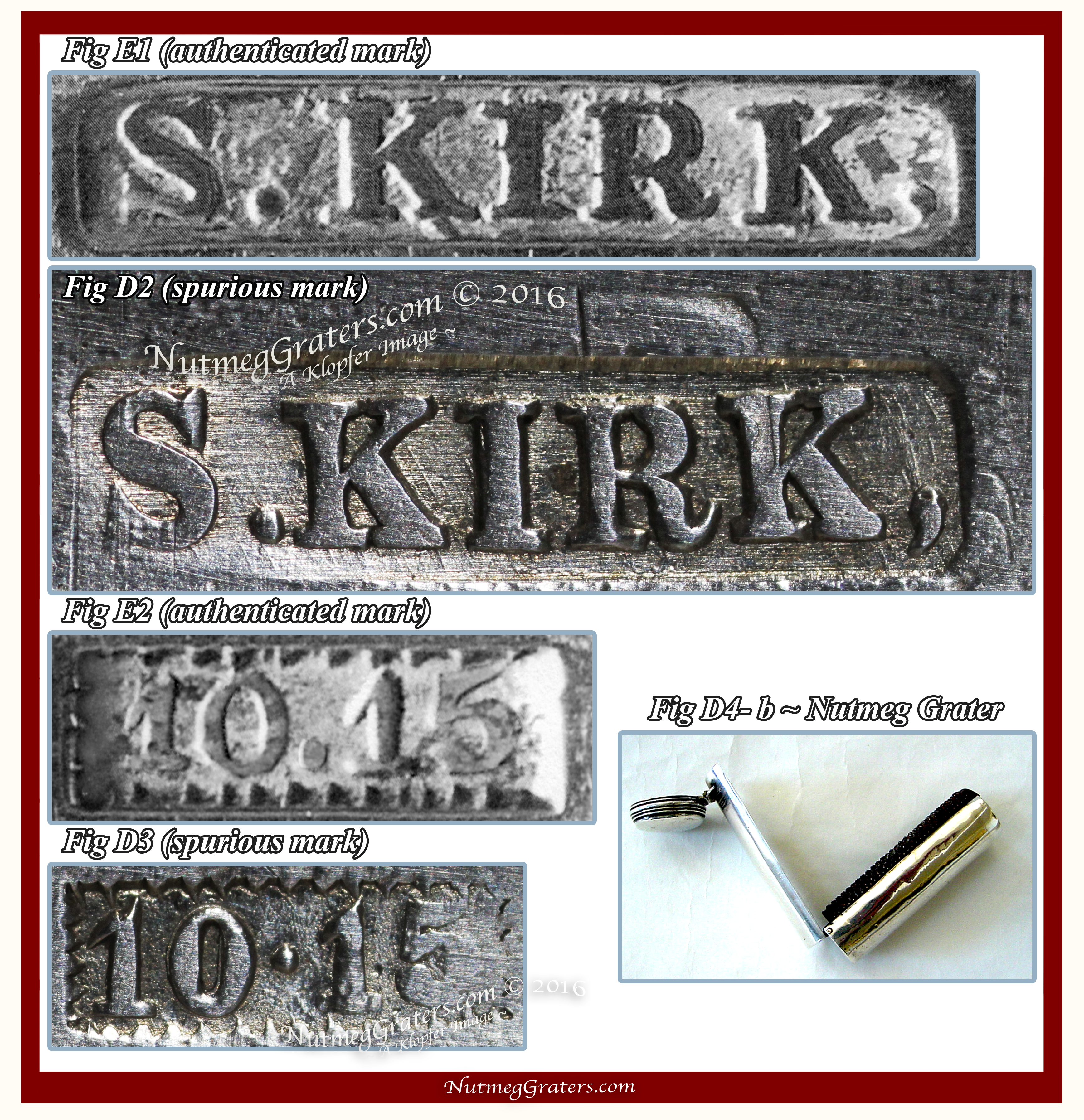 Comparison of Authenticated VS Spurious Kirk maker's mark