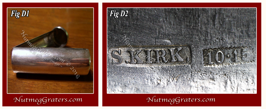 images of silver nutmeg graters with fake Kirk marks