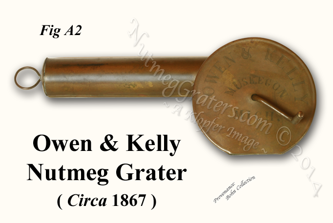 Owen and Kelly mechanical nutmeg Grater Muskegon Michigan 1867