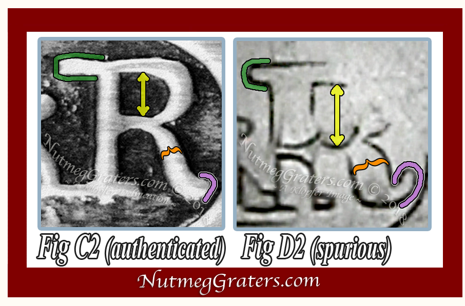 "Comparitive image between authentic & spurious letter ""R"""