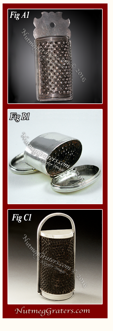 Three Spurious Marked Silver Nutmeg Graters T. Fletcher