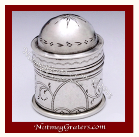 Treen Nutmeg Grater with Coin Silver Caps