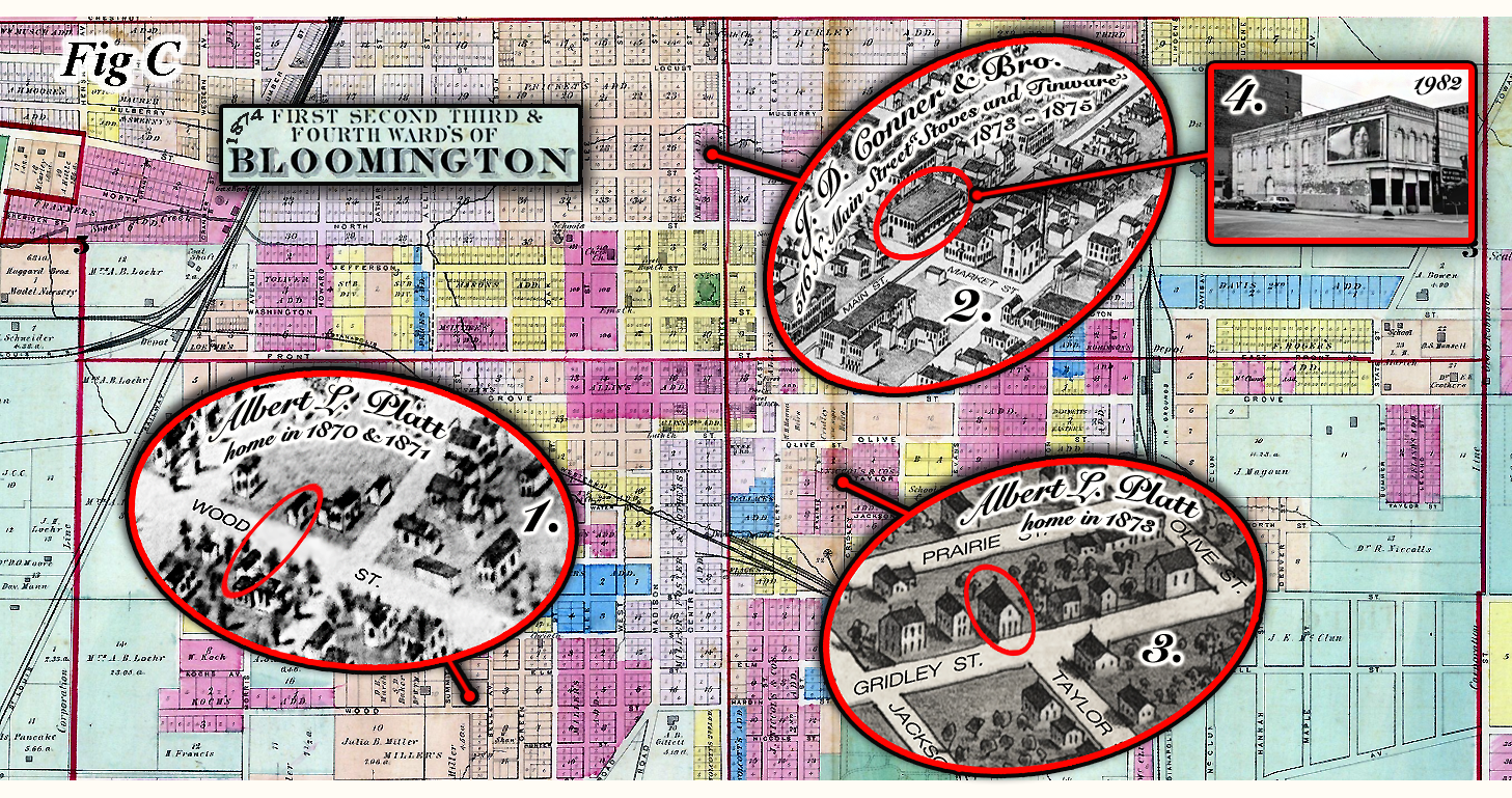 Map Of Bloomington Ilinois 1874 with added key features